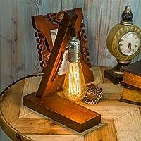 OYGROUP Lámpara de Mesa de Noche de Madera Lámpara de Escritorio de Vintage E27 Lámpara de Edison Lámpara de Pared Retro Industrial para Dormitorios Sala de estar Home Art Display Café Bar Studio Antique Decor
