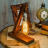OYGROUP Holz Nachtlicht Tischlampe Vintage Schreibtisch Lampe E27 Edison Glühbirne Wooden Retro Industrial Dimmable Licht für Schlafzimmer Wohnzimmer Home Art Display Cafe Bar Studio Antique Decor