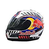 Motocross-Rennhelm Helm für Damen und Herren Skateboard-Helm, Fahrradhelm Roller-Downhill-Schutzhelm, Full-Fachhelme, Full Face Motorcycle Street Racing Helmets (XL) (Red Bull,L)