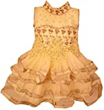 All About Pinks Frilled Dress in Gold Brown