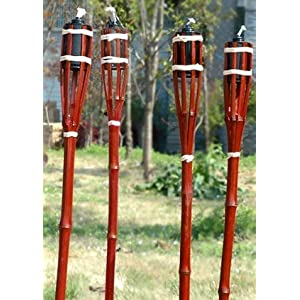 Gartenfackeln aus Bambus , 6 Stück 60cm Länge , für Lampenöl Petroleum oder Bio Ethanol