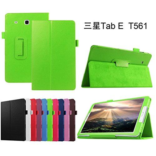 Mama Mouth PU Leder Folio 2-Folding Stand Cover mit Stylus Halterung für Samsung Galaxy Tab E 9,6/E Nook 24,4cm T560T561T567Verizon 4G LTE Grün Grün