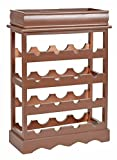 ts-ideen Cantinetta Portabottiglie in legno color Marrone per 16 bottiglie completa di vassoio servi bevande