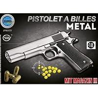 Elite series Pistolet Métal À Billes Argent 22 cm 0.500 Joules Attention: Vente Interdite Aux Personnes Âgées De Moins DE 18 Ans