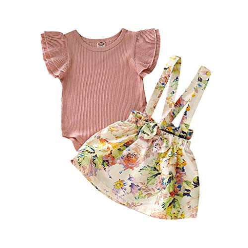 DWQuee Baby Girls Clothing Set, Fly Sleeve Romper+Floral Overalls Skirts for 0-3 Years (Fly Girl Kostüm)