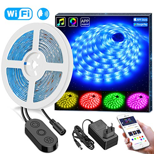 Minger RGB LED Streifen Lichtband Wasserdicht, 5M WiFi Drahtlose Smart Phone gesteuerte LED Strip, kompatibel mit Google Home, Amazon Alexa, Echo Kontroll Musiklichter 5M 5050 150 LED Lichterkette