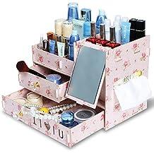 PhantomSky DIY Caja de Almacenaje de Madera Creativa Versión Mejorada - 3 Capas Caja Escritorio con Espejo y 3 Cajones Perfecta para tu Maquillaje, Joyas y Objetos Pequeños