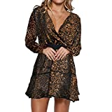 Vertvie Frauen Leopard Minikleid Tunikakleid Kleid Longbluse im coolen Leo-Print (Brown, XL)