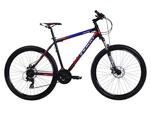 Indigo Traverse, Mens Mountain Bike, 21 Speed, 27.5 Inch Wheel, Black, Red & Blue (17.5ÊInch Frame) Best Price and Cheapest