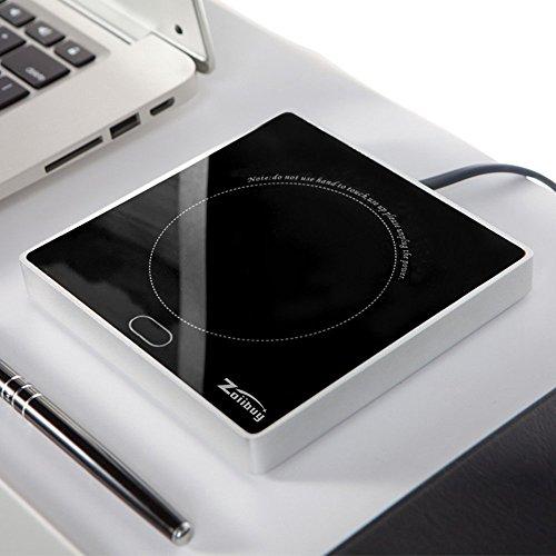 Tassenwärmer, Zoiibuy Kaffeewärmer Multifunktionale Becher-Wärmehaltungsplatte Resistentes Glas mit Elektrischer Heizplatte 220V 18W für Büro, Hausgebrauch, PC, Notebook, (1,4 Mio Kabel)