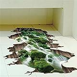 Autocollants muraux Brezeh 3D représentant un ruisseau pour la décoration de la salle de séjour, autocollant artistique amovible en vinyl pour le mur ou le plancher.