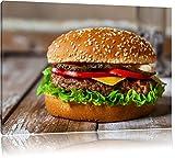 Burger Hamburger Cheesburger Käse Fast Food Format: 100x70 cm auf Leinwand, XXL riesige Bilder fertig gerahmt mit Keilrahmen, Kunstdruck auf Wandbild mit Rahmen, günstiger als Gemälde oder Ölbild, kein Poster oder Plakat