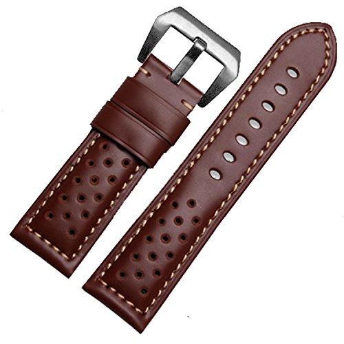 22mm marrone in vera pelle orologio da polso con fibbia stile Racing s.s