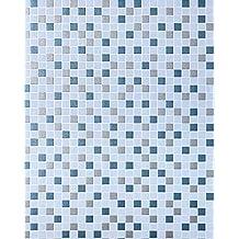 Empapelado de diseño mosaico para cocinas EDEM 1022-12 azulejos papel texturado azul claro azul pardo petróleo plata