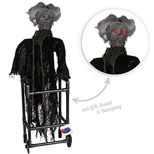 Preis am Stiel Halloween - Figur Frau mit Gehhilfe | Schocker | Halloweenparty | Horror | Geister | Gehhilfe | Requisite | Figur | Halloweendeko