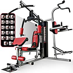Sportstech unique 45in1 Premium Gym HGX100/HGX200 for countless training variations. Multifunctional homegym with Lat pulling tower,fitness station, EVA material, home use, sturdy (HGX200)