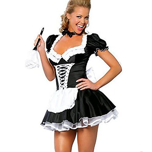 Maid Anime Cosplay Kostüm - discoball Damen Dienstmädchen Kostüm Kleid Frauen French Maid Anime Cosplay Zimmermädchen Karneval Fasching Schürze mit Weißes Band Schwarze Fliege G-String (XL)