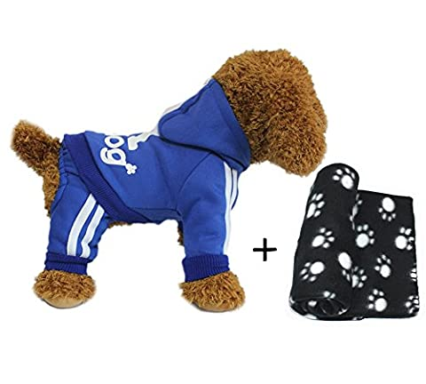 YAAGLE Pet Warm Sweater Hoodie Coat Sweatshirt Clothes Costume Apparel for Dog Puppy Cat,Blue+Blanket