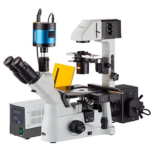 AmScope in480tc-fl-mf60340x -1500X Fase invertido + Poca Luz de fluorescencia Microscopio con extremos de 6MP cámara