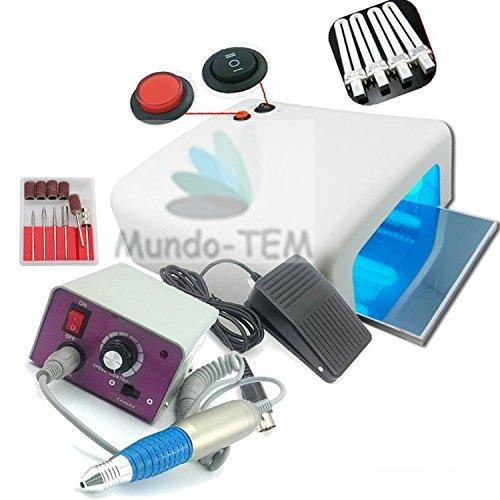 Mundo-TEM Lampe UV professionnelle 36 W et ponceuse 30 000 tours pour manucure et pédicure