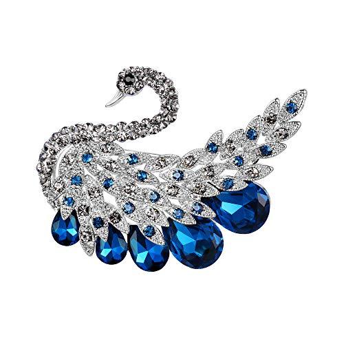 Ever Faith Damen Brosche Österreichischen Kristall Hochzeit Charming Swan Pin für Kleidung Blau Silber-Ton