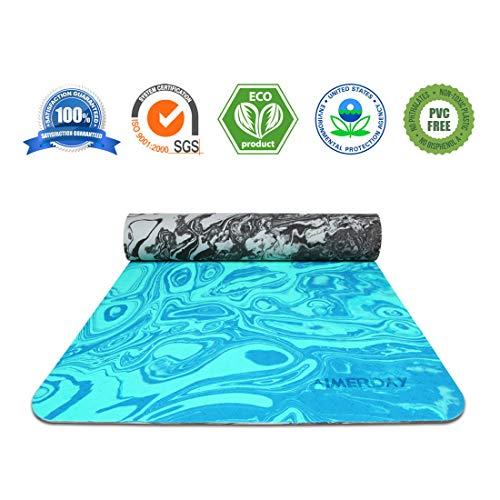 Aimerday non slip tappetino yoga eco amichevole tpe tappetino per esercizi stampare 6mm di spessore leggero stuoia di pilates con la cinghia di trasporto per pavimento, fitness 72