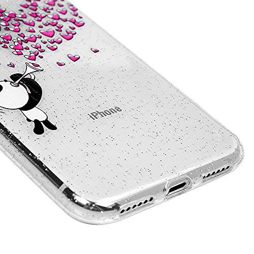 MAXFE.CO Schutzhülle Tasche Case für iPhone X TPU Silikon Cover Gemalt Muster Etui Protective Schale Bumper Herz Herz