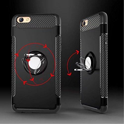 YHUISEN Rüstung Dual Layer 2 in 1 Hochleistungs-Shockproof Schutzhülle mit 360 Grad drehender Finger Ring Halter und Magnet Car Halter Case für OPPO A59 / OPPO F1S ( Color : Red ) Red