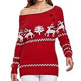 VECDY Damen Pullover, Schwarzer Freitag Specials Frauen Weihnachtsbaum Elch Drucken Sie einen schrägen Hals oder einen Schulterfreien Strickpullover mit KnöpfenLässiges T-Shirt