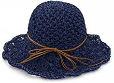 Zhuhaitf Spiaggia Estiva Soft Hollow Cappello da Sole Pieghevole Ampio  Bordo Cappello di Paglia Bowknot Sun f63a3f6e1a4b
