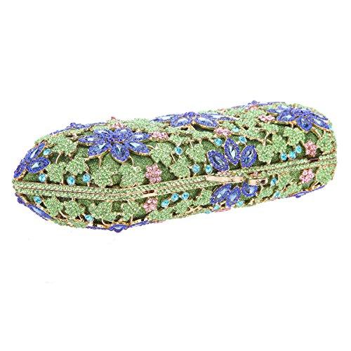 Bonjanvye Shining Blossoming Flower Purses Crystal Handbags for Girls Rose Gold Green