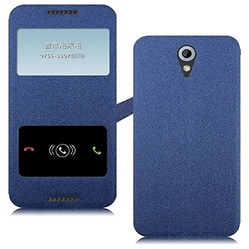 Heartly GoldSand Sparkle Luxury PU Leather Window Flip Stand Back Case Cover For HTC Desire 620 620G 820 Mini Dual Sim - Power Blue