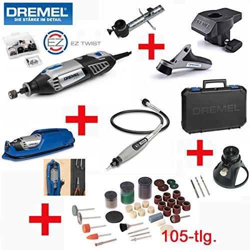 DREMEL Multitool 4000 Set - inkl. 65 DREMEL Zubehörteile, DREMEL Biegsame Welle, DREMEL Modellierungstisch, DREMEL Kreis- und Parallelschneider, DREMEL Präzisionshandgriff, Koffer, 105-tlg. SILVERLINE Zubehörset und Multi-Schneidvorsatz