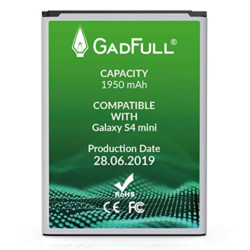 GadFull Batería de reemplazo para Samsung Galaxy S4 Mini | 2019 Fecha de producción | Corresponde al Original B500BE | Compatible con S4 Mini i9190| S4 Mini Dual SIM i9192| S4 Mini LTE i9195