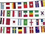 Alsino, ghirlanda di bandierine, per la Coppa del Mondo 2018,per esterno, articolo per tifosi, ghirlanda di bandierine per tifosi, lunghezza8,5m, con le bandiere di tutti i 32 partecipanti