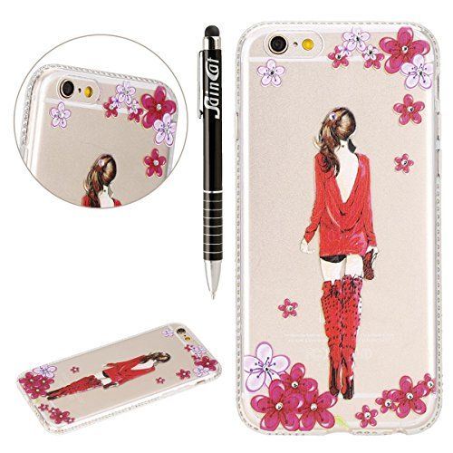 SainCat Coque Housse pour Apple iPhone 6 Plus /6s Plus,Transparent Coque Silicone Etui Housse,iPhone 6s Plus Silicone Case Soft Gel Cover Anti-Scratch Transparent Case TPU Cover,Fonction Support Prote robe rouge fille #1