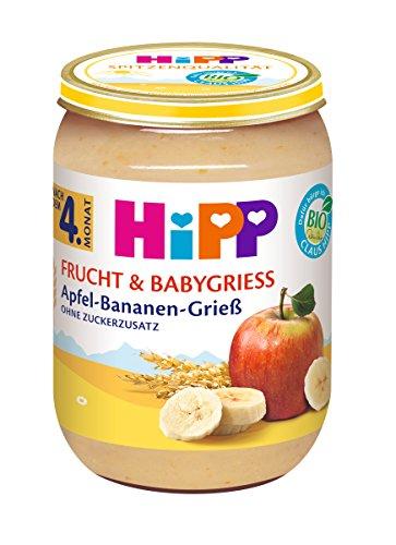 HiPP Frucht & Babygrieß Apfel-Bananen-Grieß, 6er Pack (6 x 190 g)