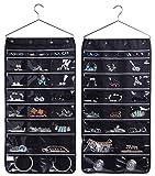 MISSLO Schmuck-Organizer zum Aufhängen, mit 44 Taschen, mit Reißverschluss und Kleiderbügel