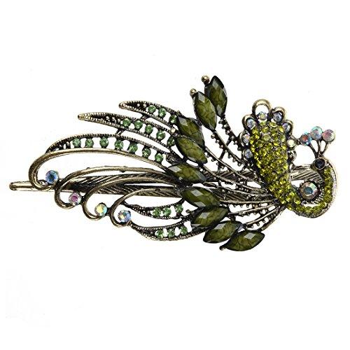 SODIAL(R) Belle bijoux Vintage pinces Cristal paon Barrette de cheveux - pour epingle a cheveux Outils de beaute
