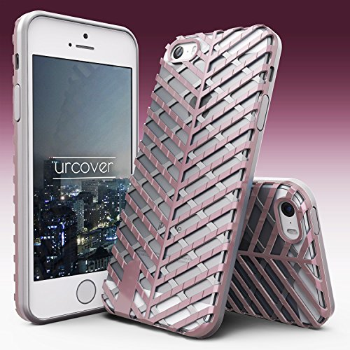 iPhone 5 / 5s / SE Coque, Urcover Sword Case Series Étui Apple iPhone 5 / 5s / SE Dual Layer TPU Transparent + PC Noir - Argent Housse Téléphone Smartphone Cover Blanc / Rose