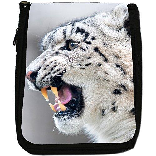 Snow Leopard Wild Cat Medium Nero Tela Borsa a tracolla, taglia M Growling Snow Leopard