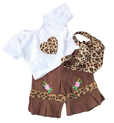 Chocolate Leopard Outfit & Rucksack 15in Teddy Bear Clothes fit Build a Bear Teddies (Leopard Teddies)