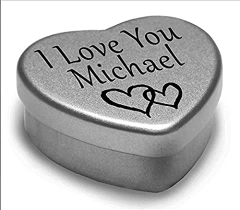 I Love You Michael Mini Heart Tin Gift For I Heart Michael With Chocolates. Silver Heart Tin. Fits Beautifully in the Palm of Your Hand. Great as a Birthday Present or Just as a Special Gift to Show Somebody How Much You Love Them.