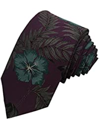 TED BAKER London Mens 100% Woven Silk Neck Tie Necktie Purple Green Floral Leaves Tropical