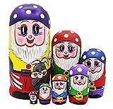 Set von 7 Märchen Zwerge Stapeln Spielzeug Russischen Puppe Handgefertigt Spielzeug aus Holz für Kinder Kinderzimmer Decor (Lila)