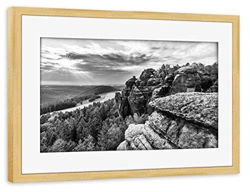 artboxONE Poster mit Rahmen Kiefer 75x50 cm Aussicht im Abendlicht von lightyear21 - gerahmtes Poster -
