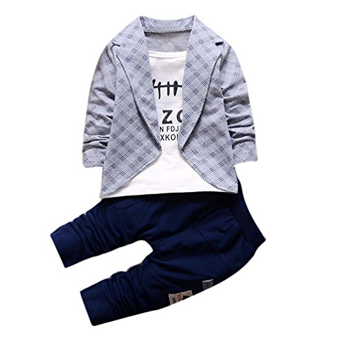 Bekleidung Longra 2pcs Kleinkind Baby jungen Kinder Shirt Tops + lange Hosen Kleidung Outfits Gentleman jungen Kleidung Set(1-4Jahre) (80CM 1Jahre, Gray) (Shirt Jungen Für Kleid)