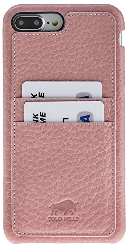 "Solo Pelle iPhone 7 Plus / 8 Plus Case Lederhülle Ledertasche Backcover "" Slimfit "" in Vintage Braun Fullcover-Rosa"