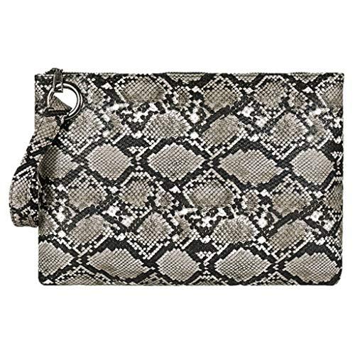 Maleya Mode Frauen Einkaufen Reißverschluss Serpentine Messenger Bag Handytasche Wallet Clutch Kosmetiktasche Bag Schultertasche Bucket Bag Umhängetasche Brusttasche Snake Print Vintage Bag (Snake Print Schnalle)