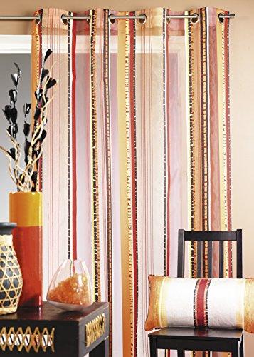 Homemaison tenda in organza fantasia a righe verticali colorate, 100% poliestere, cioccolato, 140 x 260 cm